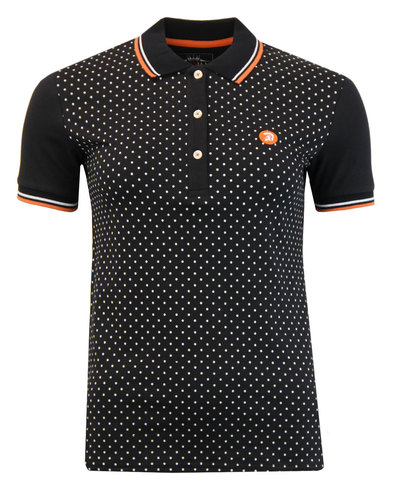 TROJAN RECORDS Retro Womens Polka Dot Polo Black