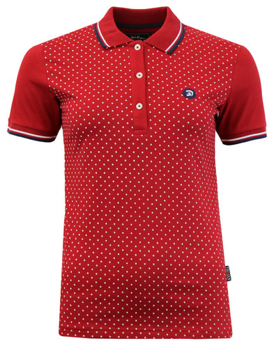 TROJAN RECORDS Retro Womens Polka Dot Polo Blood