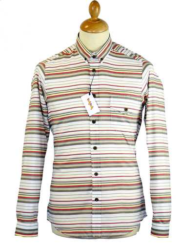 On Deck TukTuk Retro Mod Stripe Button Down Shirt