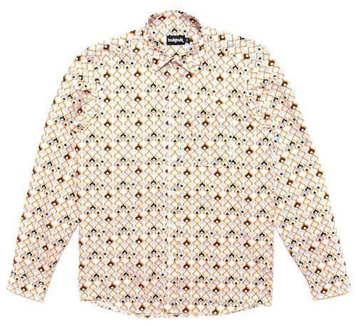 Taj Print TukTuk Retro 60s Mod Button Down Shirt