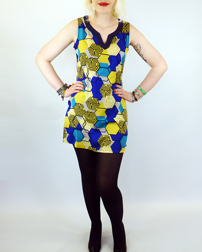Miel VILA JOY Retro 70s Mod Honeycomb Tunic Dress