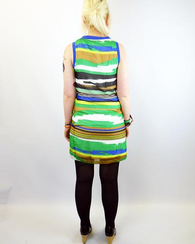 Ikat VILA JOY Retro 70s Mod Voile Striped Dress