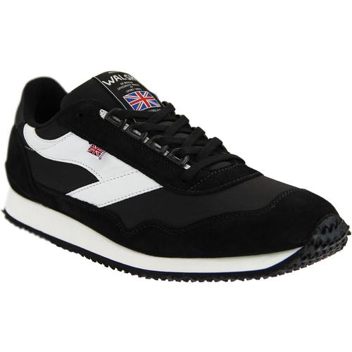 89cda32a950e0 walsh made in england mens ensign retro suede canvas trainers black white