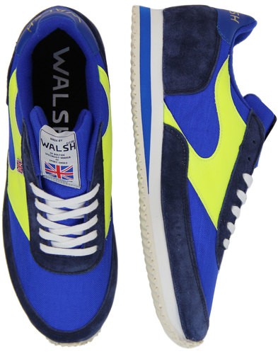 LA 84 WALSH Made In England Retro Trainers (B/N/Y)