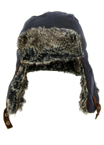 FAILSWORTH Retro Check Lined Wax Trapper Hat NAVY