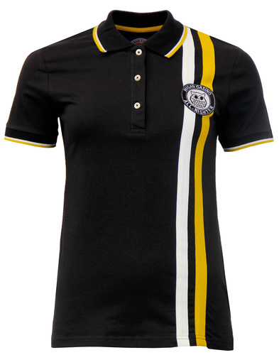 WIGAN CASINO Womens Retro Stripe Badged Polo BLACK