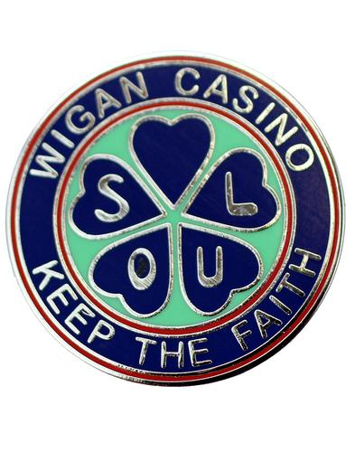 WIGAN CASINO Northern Soul Retro 70s Pin Badge