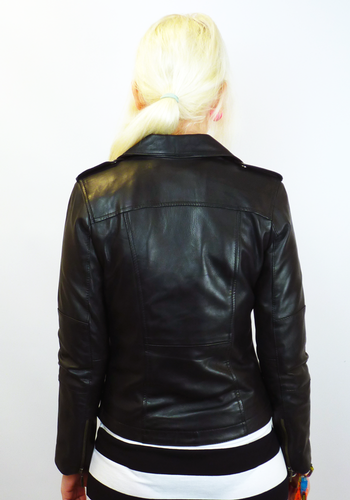 74cbb25c51b Lilly Retro Fifties Vintage Indie Leather Biker Jacket Black