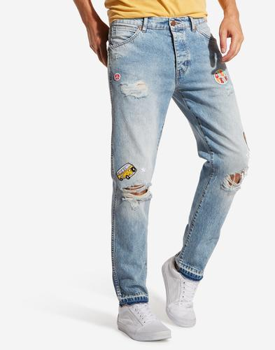 Wrangler Men's Retro 70s Patched Torn Ripped Jeans