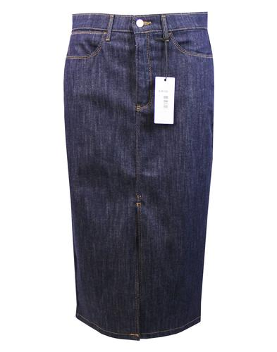 WRANGLER Retro 70s Indigo Denim Long Pencil Skirt