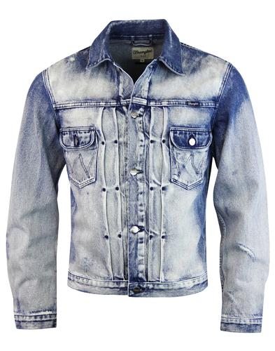 WRANGLER Men's 70s Bleach Patch Denim Retro Jacket