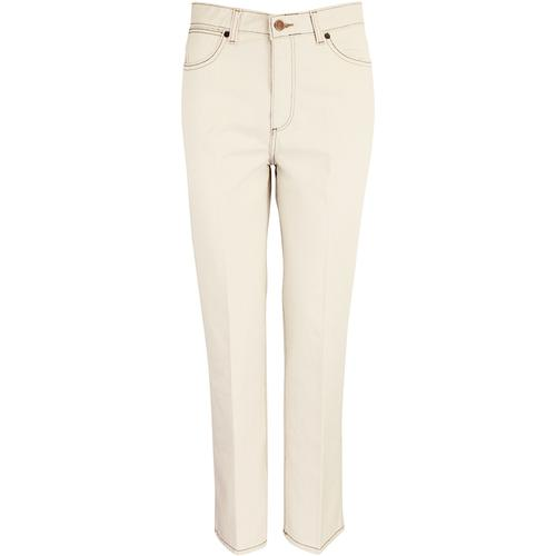 1f2f016d wrangler womens retro straight denim trousers natural sand beige