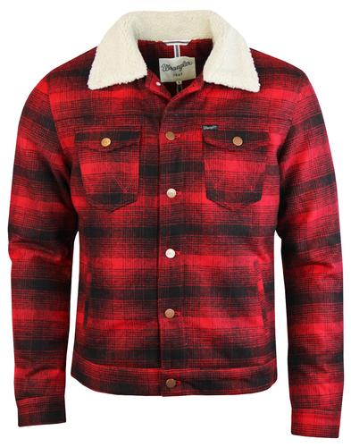 WRANGLER Retro Mod Wool Check Trucker Jacket RED